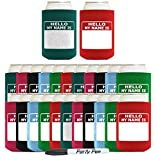 Funny Can Coolie Hello, My Name Is Funny Badge and Permanent Marker Multi Pack Name Tag 24 Pack Can Coolie Drink Coolers Coolies Multi