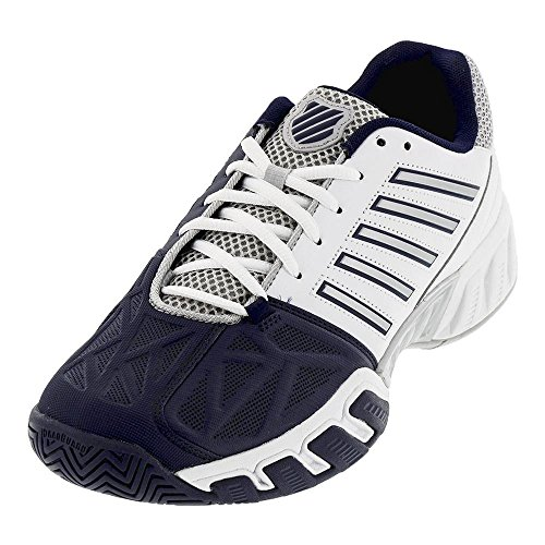 K-Swiss Men`s Bigshot Light 3 Tennis Shoes White and Navy - (05366-109S18)