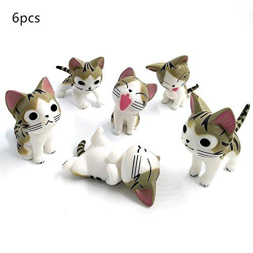 Kimkoala 6 Piece Little Cats, Miniature Fairy Garden Chi Cat For DIY Ornament Outdoor Decor Home Decoration (grey)
