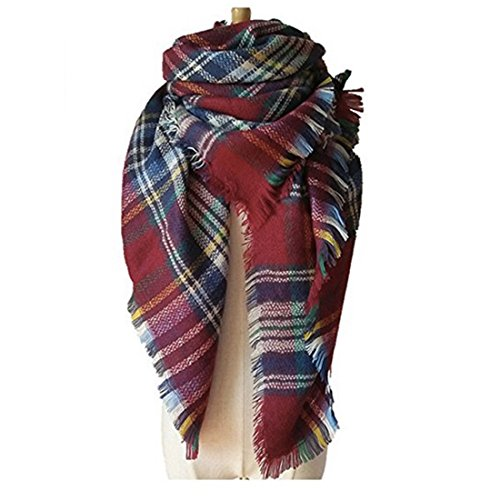 Women's Cozy Tartan Blanket Scarf Wrap Shawl Neck Stole Warm Plaid Checked Pashmina (Burgundy Blue White)