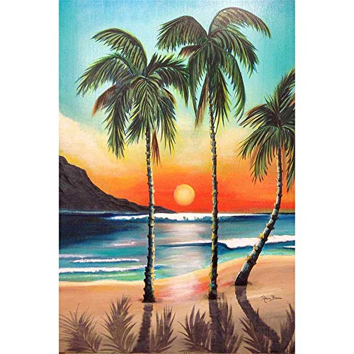 (DIY Oil Painting, Painted by The Child's Digital Set -Sunset Palm Tree)