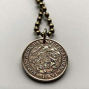 1917 or 1925 Netherlands Cent coin pendant Dutch lion Amsterdam Utrecht Nederland Groningen Almere Stad Breda Nijmegen Gouda Delft n000422