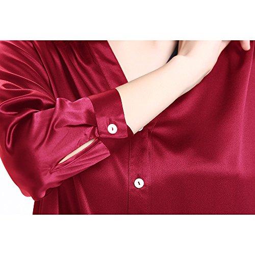 LILYSILK Camisón Mujer de Seda Elegante-Ropa para Dormir Super Cómodo 100% Seda Natural 22 Momme Rojo Vino
