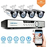 HISRAY 8 Channel 1080P 5N1 Video Security DVR + 4x HD 2MP Indoor/Outdoor Weatherproof CCTV Cameras Home Surveillance System NO Hard Drive, Motion Alert Smartphone & PC Easy Remote Access Free App