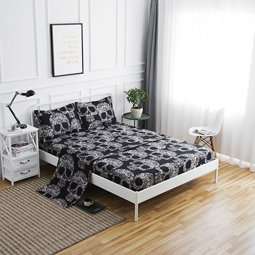 SDIII 4PC Black and Cream Skull Bed Sheets Microfiber Queen Skeleton Bedding Sheet Sets with Flat Sheet, Fitted Sheet and Pillowcase (Bedding White Skull And Black)