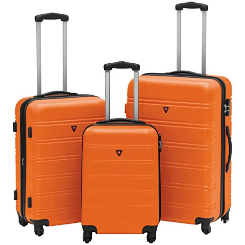 Hardshell 3 Piece Expandable Spinner Luggage Set - Orange by tamsun