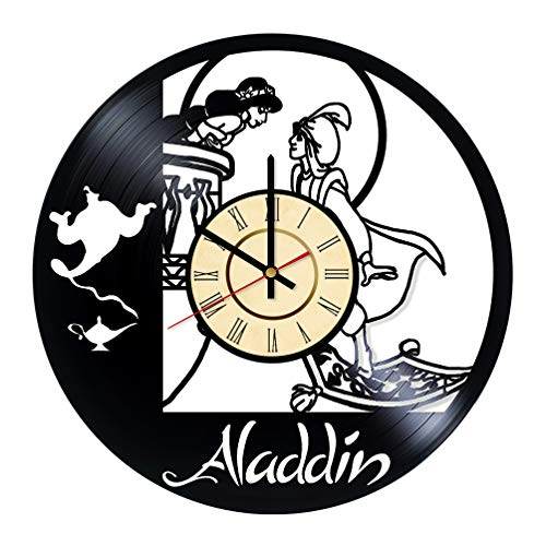 Aladdin Disney Animated Musical Fantasy Vinyl Clock Gift for Princess Jasmine Fans Kids Room Wall Decor Wall Art Living Room Artwork