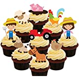 Farmyard Party Pack - Farmers,Tractors and Farm Animals, Kids Edible Cupcake Toppers - Stand-up Wafer Cake Decorations by Made4You