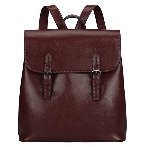 S-ZONE Women Leather Backpack Retro Chic Preppy Commuter Bag Daypack (Coffee)