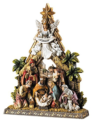 Avalon Gallery Nativity Tree and Stable Figurine -