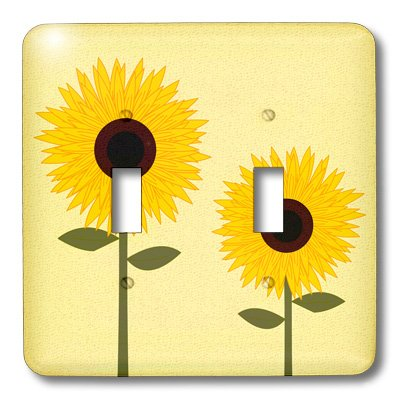 Sunflower Toggle - 3dRose lsp_24647_2 Simply Sunflowers Light Yellow Background Double Toggle Switch