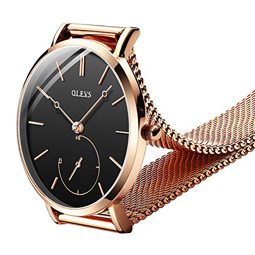 (OLEVS Women Ultra Thin 6.5mm Quartz Rose Gold/Black Mesh Steel Wrist Watch with Free Adjust Screwdriver, Waterproof & Date Window (Black Chronograph dial & Rose Gold Band))