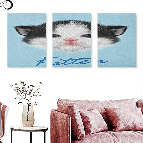 Anniutwo Cartoon Wall hangings Portrait of Domestic Kitten Newborn Bicolor Furry Head Pink Wet Nose Artwork Wall Panel Art Black White Blue W 24