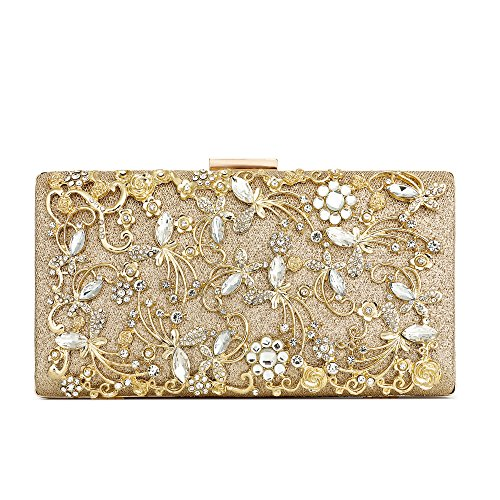 Minicastle Large Womens Noble Evening Clutch Bag Wedding Purse Bridal Prom Handbag Party Bag Gold