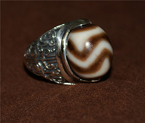 Tibetan Buddhism Pure Tiger Tooth Dzi Bead Ring Double Water Wave Huya Tianzhu Gzi Genuine Amulet Authentic Ancient Agate Rainbow Tibet Antique Old Nepal Zig Zag Protective Lucky Charm Real Buddhist