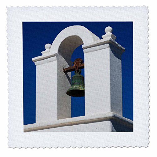 3dRose Danita Delimont - Churches - Spain, Canary Islands, Lanzarote, Tahiche, small belltower - 20x20 inch quilt square (qs_257884_8) by 3dRose