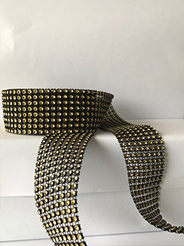 Fitz Vase - 8 row wrap, Black with Gold, 5 yards ,1 1/2 inch wide, DIY, Parties, Wedding, arts and crafts