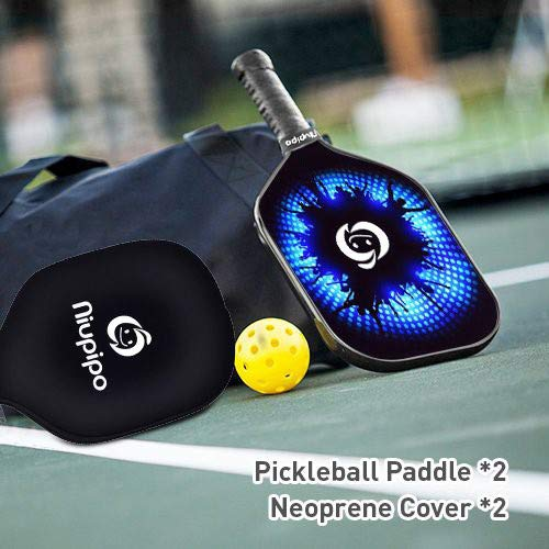niupipo Pickleball Paddles, Carbon Fiber Face, Pickleball Paddle Set of 2 with Covers