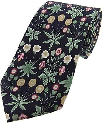 Azul marino / Verde / flor rosada corbata de seda de lujo de Posh and Dandy