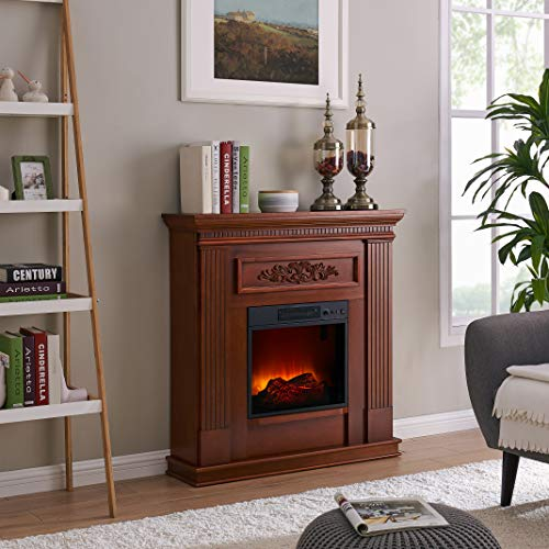 Cheap Fireplace Stand Led - Space Heater Indoor - Electric Fireplace Freestanding - Electric Fireplace Remote Control 5 Level Flame - Electric Fireplace Freestanding Wooden Logs Heater - Fireplace Dark Wood Black Friday & Cyber Monday 2019