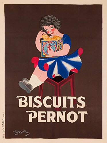 Biscuits Pernot Vintage Poster (artist: Leonetto Cappiello) France c. 1939 (9x12 Art Print, Wall Decor Travel - Wpa Print 1939