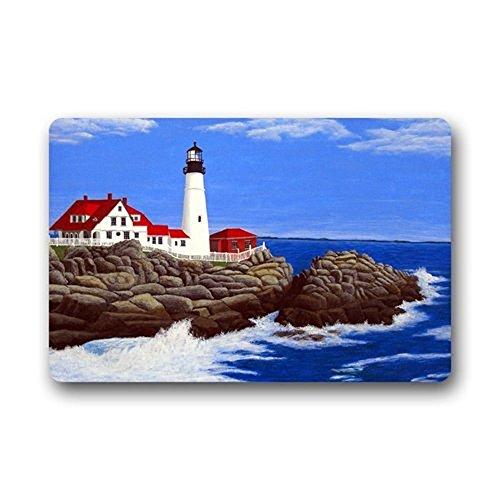 Lighthouse Door Mat (Lighthouse Fabric Door Mat Rug Indoor/Outdoor/Front Door/Shower Bathroom Doormat, Non-slip Doormats, Size40X60CM.)