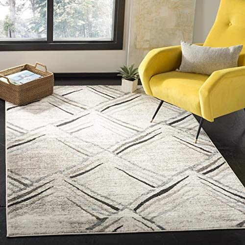Safavieh Amsterdam Collection AMS112A Southwestern Bohemian Cream and Charcoal Area Rug 5'1″ x 7'6″