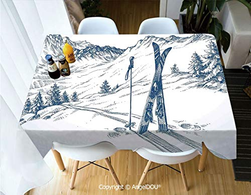 (AngelDOU Waterproof Stain Resistant Lightweight Table Cover Sketchy Graphic of a Downhill with Ski Elements in Snow Relax Calm View for Camping Picnic Rectangular Table Cloth,W55xL70(inch))