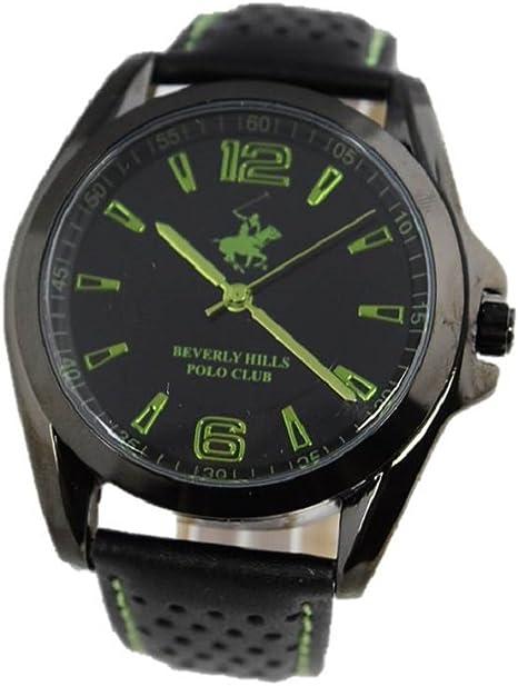 Beverly Hills Polo Club Hombre Reloj de Pulsera Reloj Piel Negro ...