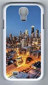 Chicago City Skyscrapers Custom Samsung Galaxy I9500/Samsung Galaxy S4 Case Cover Polycarbonate White