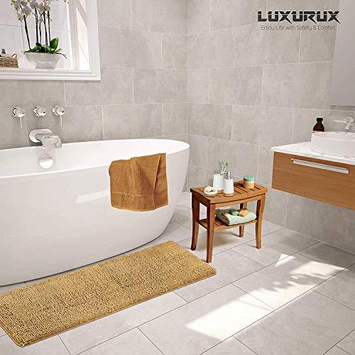 Soft Plush Anti-Slip Bath Rug +Toilet Mat.1 Microfiber Shaggy Carpet LuxUrux Bathroom Rugs Luxury Chenille 2-Piece Bath Mat Set Super Absorbent Machine Washable Bath Mats Curved Set, Birch