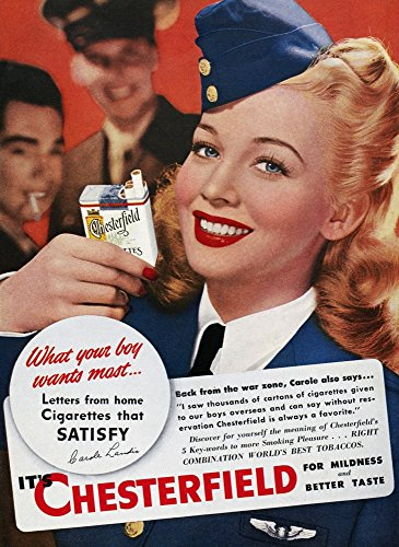- Chesterfield Cigarette Ad Nactress Carole Landis Endorsing Chesterfield Cigarettes American Magazine Advertisement 1944 Poster Print by (18 x 24)