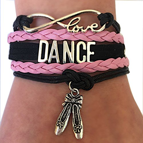 BAE Icons Dance Bracelet Gift for Girls, Infinity Dance Bracelet Ballet Shoes Charm, Gift Boxed. Pink jewelry. Perfect Gift for Girls. Dance Girl Gift for Birthday Gifts (Pink, Black, 5.5in medium)
