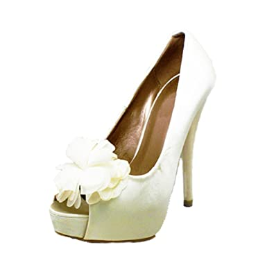 SendIt4Me Ivory Satin Peep Toe Court Shoes With Diamante Bow