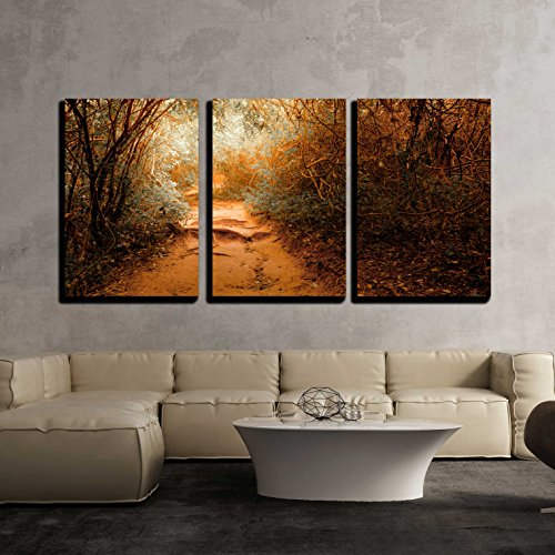 wall26 - 3 Piece Canvas Wall Art - Surreal Colors of Fantasy Landscape at Tropical Jungle Forest - Modern Home Decor Stretched and Framed Ready to Hang - 16