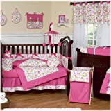 Modern Pink and Lime Green Circles Baby Girl Bedding 9pc Crib Set by Sweet Jojo Designs