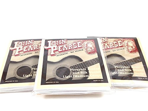 Wound Silk (John Pearse Guitar Strings 3 pack Acoustic Silk Wound Phos Bronze #610LM)