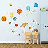 Decowall DW-1501S The Solar System Kids Wall Decals Wall Stickers Peel and Stick Removable Wall Stickers for Kids Nursery Bedroom Living Room (Medium)