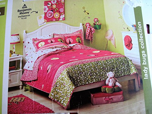 Circo Pretty Lady Bugs Stitched Full Queen Quilt Shams Set Ladybugs Comforter