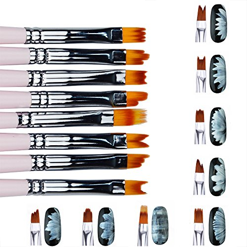 Artlalic 8Pcs Nail Art Brush Set Smile Moon Shaped Acrylic French UV Gel Polish Gradient Color Tips 3D DIY Painting Drawing Liner Pen