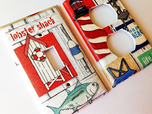 Lobster Shack Nautical Light Switch Cover - Various sizes -