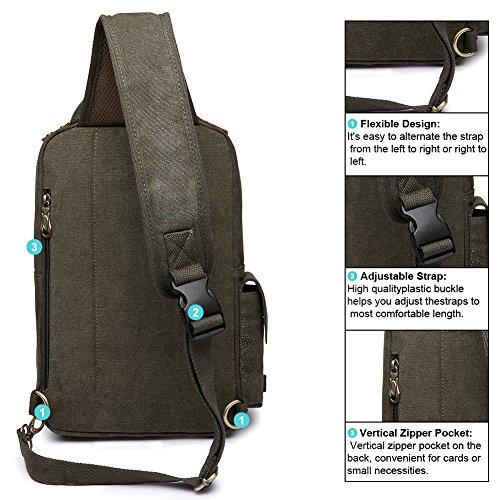 d321e445ce KAUKKO Canvas One Strap Sling Cross Body Laptop Messenger Bag - Import It  All
