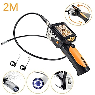 GIWOX Industrial endoscope 2M Length Inspection Camera 8.2MM Diameter Waterproof Cable Borescope with 3.5 inch Removable LCD Video Monitor 720P High Definition 1W CREE Flashlight 0.3 megapixels