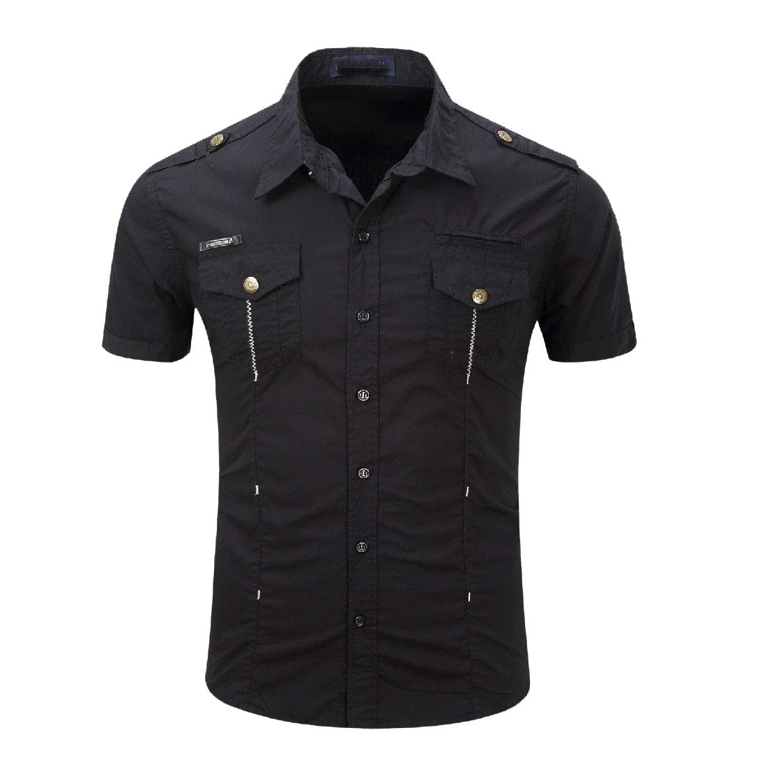 YUNY Mens Cargo Pocket Outdoor Flat Collar Short Sleeve Leisure Work Shirt Black M