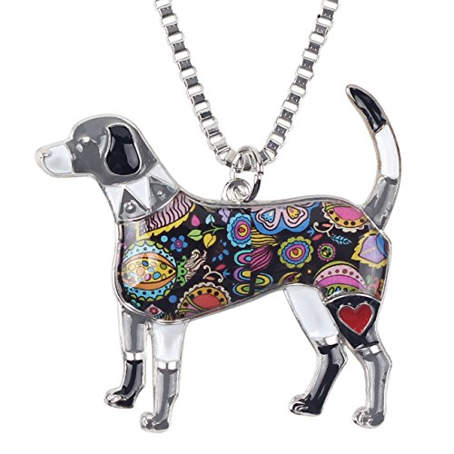 BONSNY Signature Dog Collection Love Pets Alloy Statement Beagle Necklace Animal Pendant Chain 18