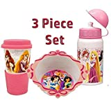 Princess 3 Piece, Bowl, Sturdy Aluminum Water Bottle, 10 Ounce Travel Mug for Hot and Cold Beverages Featuring Cinderella, Snow White, Rapunzel, Jasmine, Aurora and Tiana.
