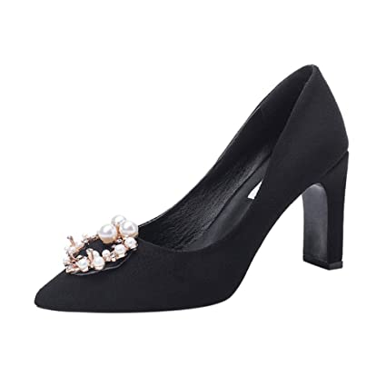 2303acba95196 Amazon.com : YJYdadaS Women Shoes Women's Ladies Flock Pearl Crystal ...