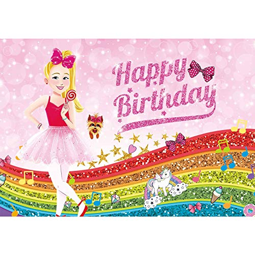 7x5ft Soft/Durable Fabric JoJo Happy Birthday Theme Pink Bokeh Backdrop for Kids Sweet 16 Banner Party Supplies