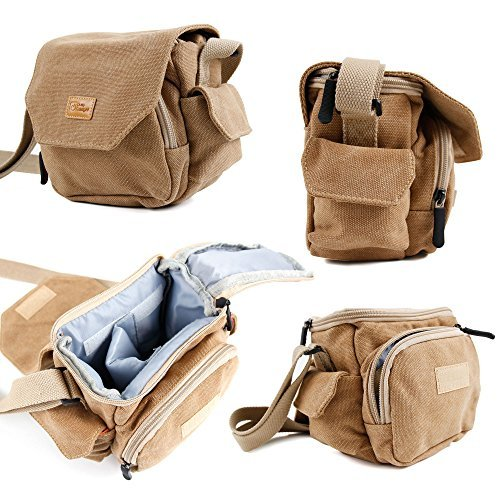 DURAGADGET Light Brown Medium Sized Canvas Carry Bag for Zoom Q2HD / Zoom Q4 Camcorder With Multiple Pockets Customizable Interior Storage Compartment & Adjustable Shoulder Strapの商品画像