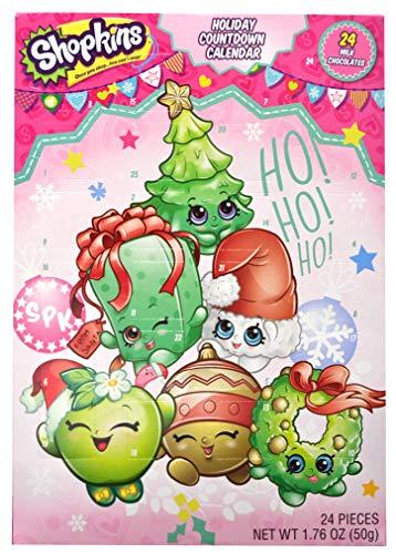 Shopkins 2018 Holiday Christmas Countdown Advent Calendar with 24 Milk Chocolate Pieces, 1.76 oz